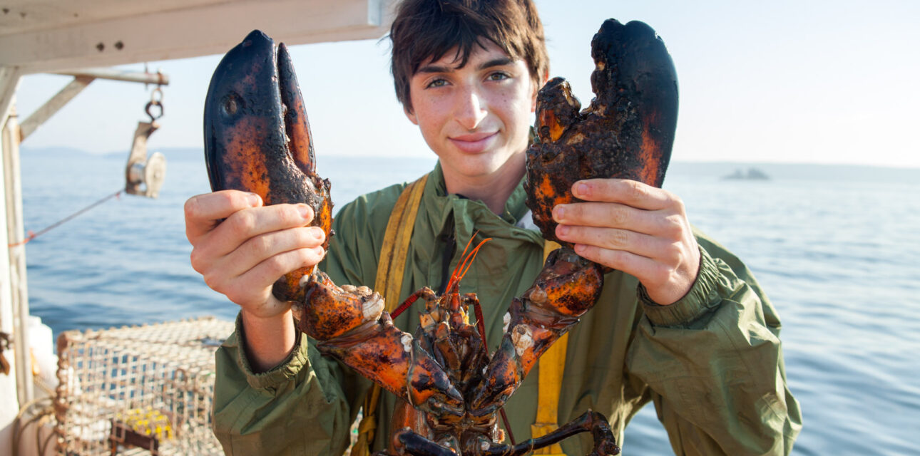A boy holding a lobster in Canda.