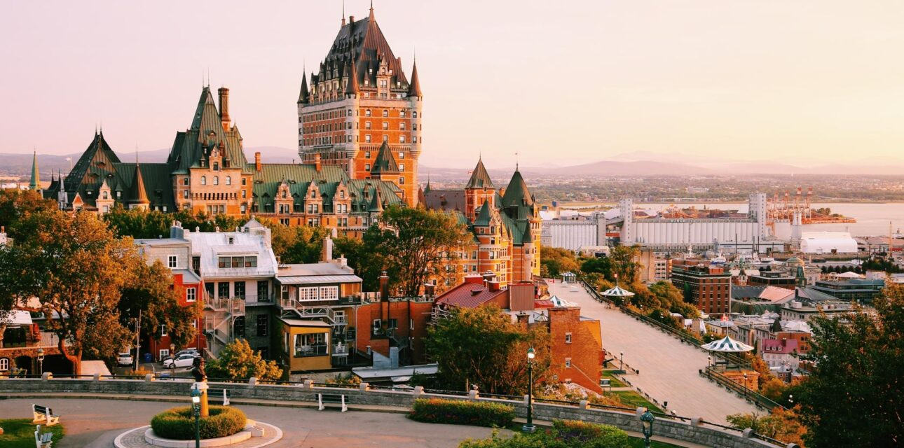 A hotel and city skyline in Quebec.