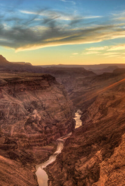 Canyon in America at sunset.