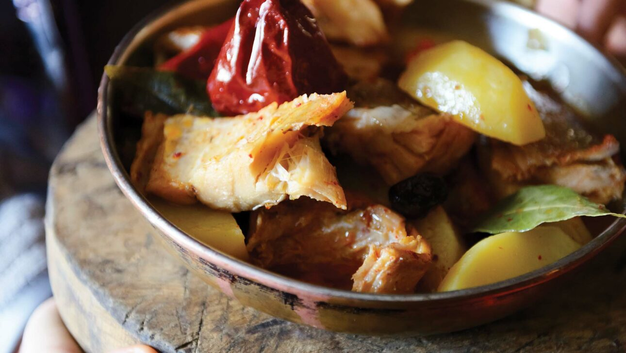 A bowl with grilled chicken and fruit