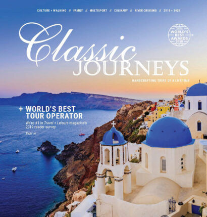 A Classic Journeys magazine cover featuring an image of Greece.
