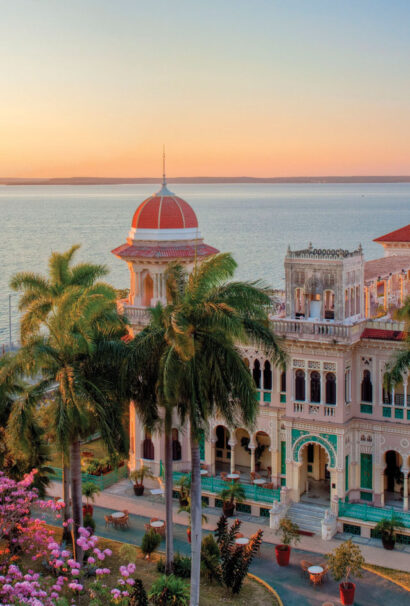Building in Cuba at sunset.