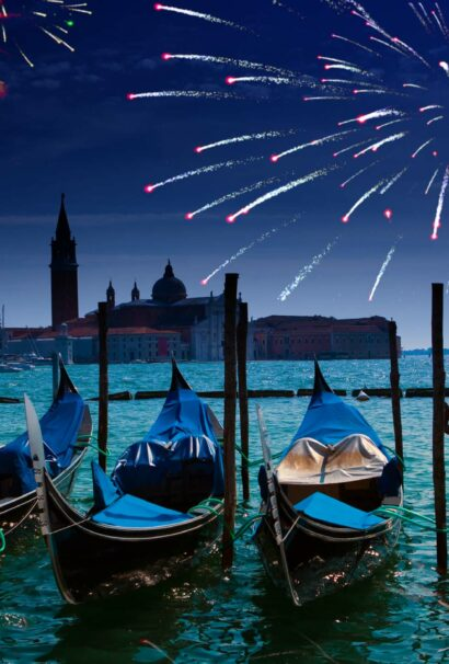 Venice at night with fireworks.