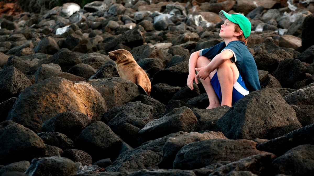 A young boy sitting with a seal.