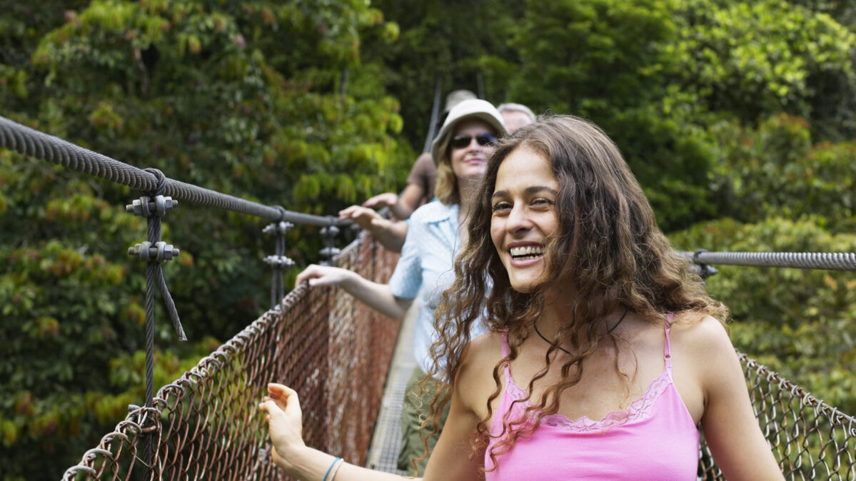 Young girls on a rope bridge.