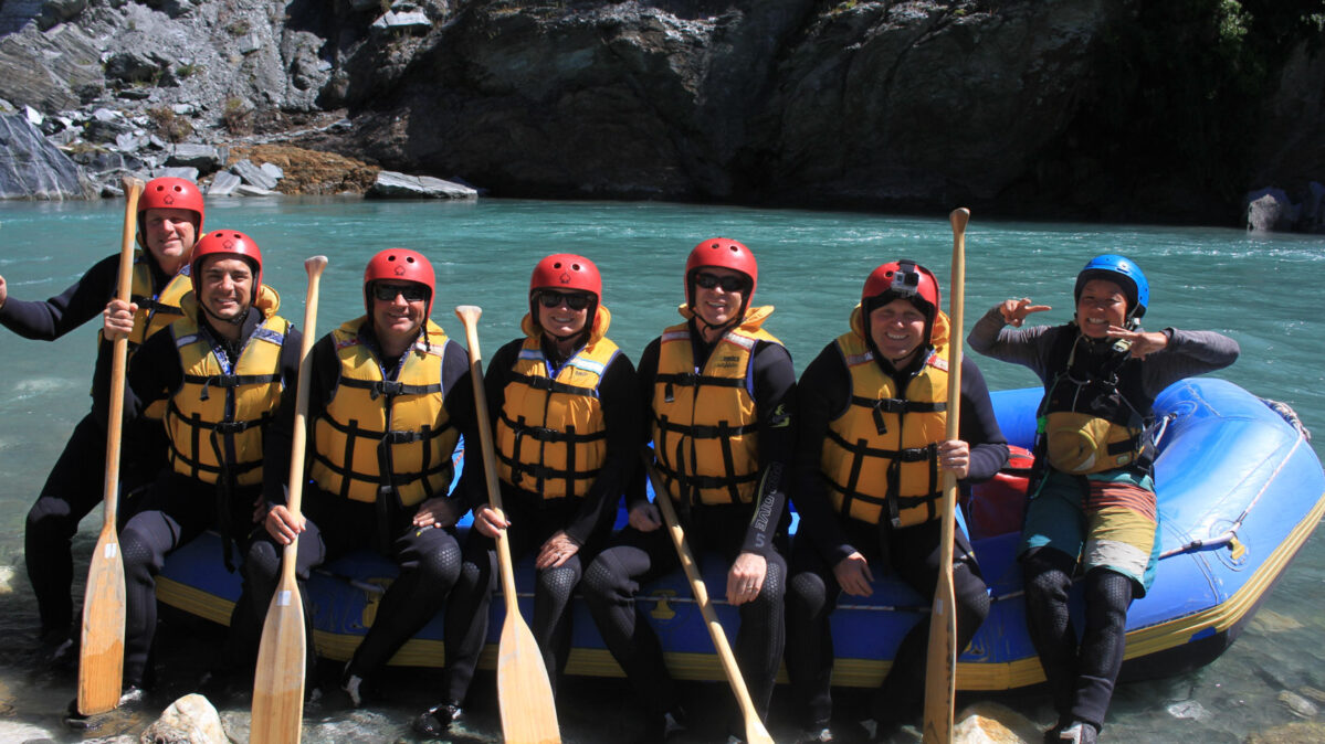 A group ready to go white water rafting.