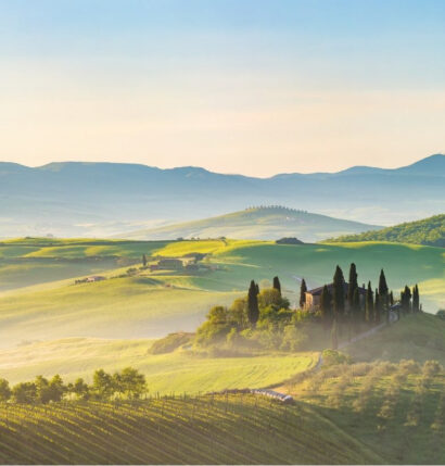 A hazy countryside in Italy.