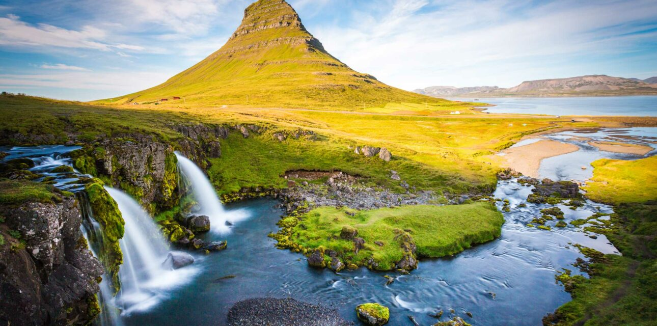 A waterfall in Iceland.