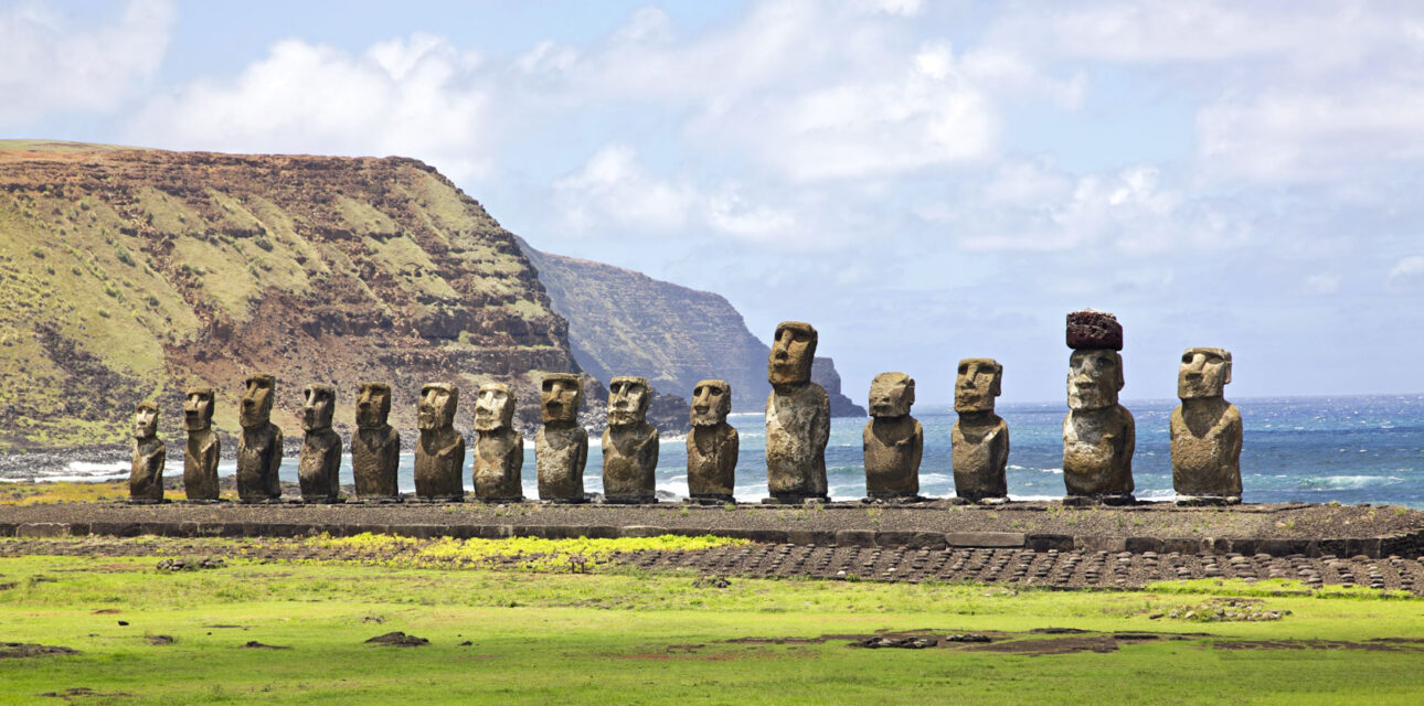 Multiple island heads in Chile.