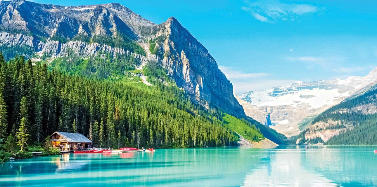 Blue water and a mountain in North America.