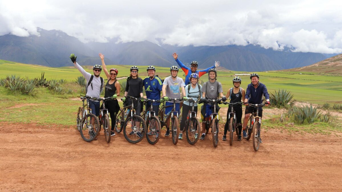 A group of people on bikes in Peru.