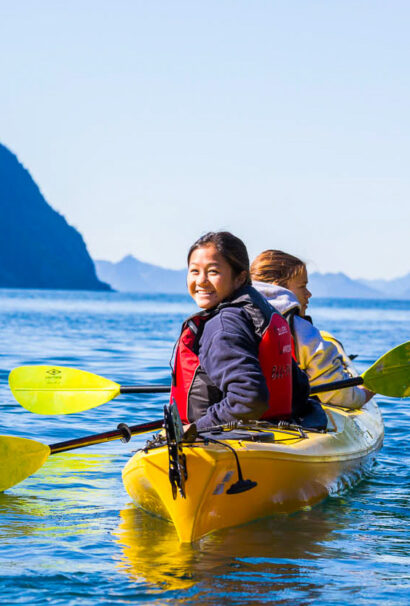 A young girl in a kayak.