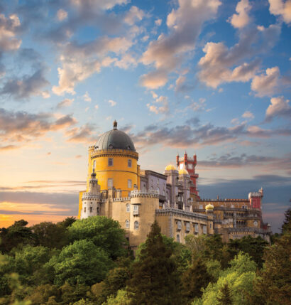 A castle on a hilltop in Portugal.
