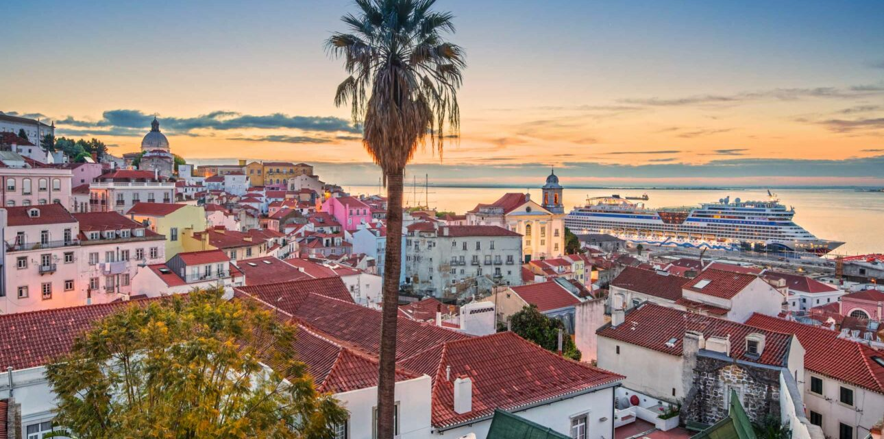 A city landscape with a palm tree in Portugal.