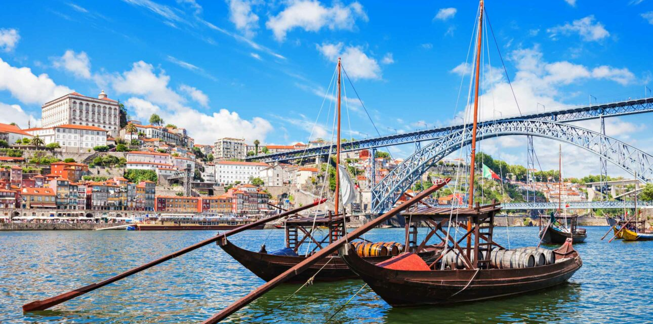 Two boats in a river in Portugal.