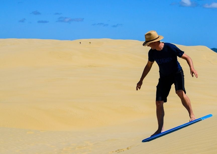 USA PInk Coral sand dunes boogie boarding