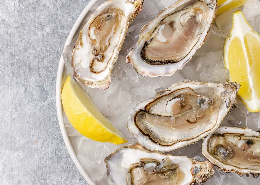 Aerial shot of oysters on plate with ice and lemons