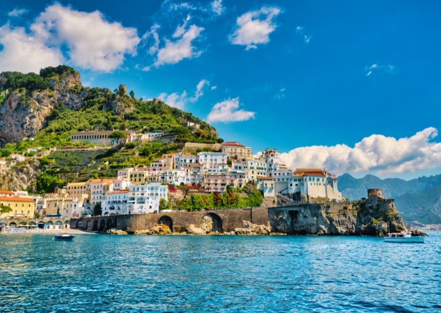 Italy Amalfi village view from sea