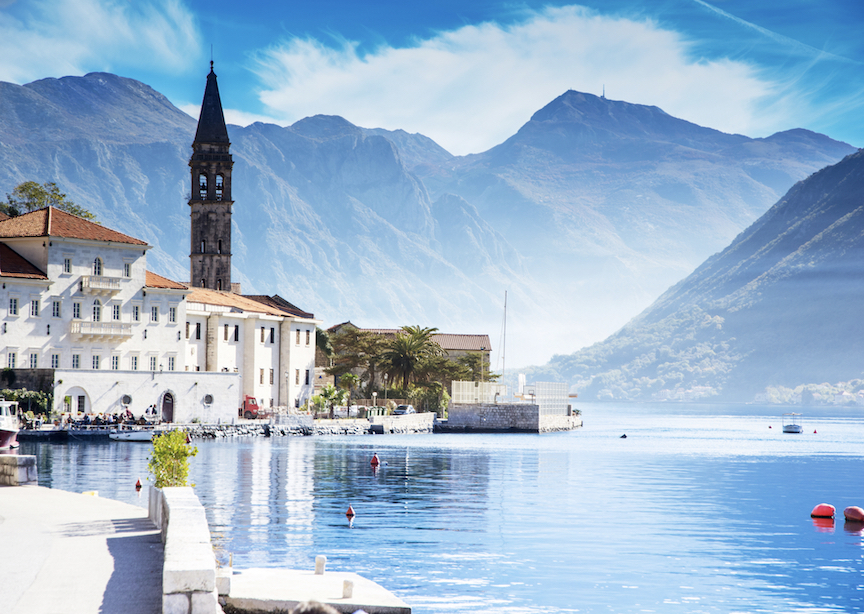 Europe Montenegro Village By Water Mountains Boats