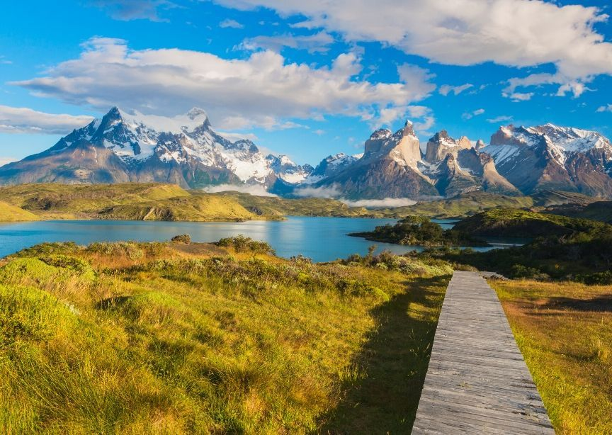 Chile Patagonia Torres Del Paine Mountains Grass