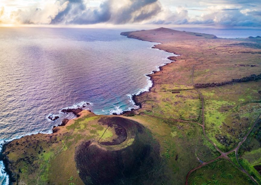 Chile Easter Island Rapa Nui Aerial Photo From Airplane