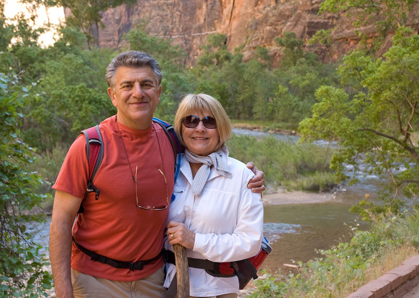 Couple smiling at USA national park