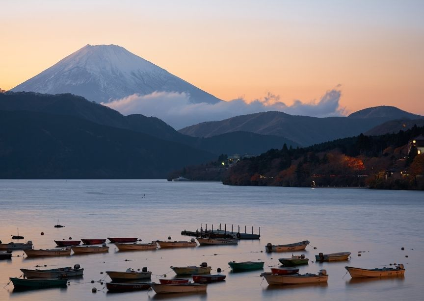 Japan Mount Fuji From Water with Boats at Sunrise