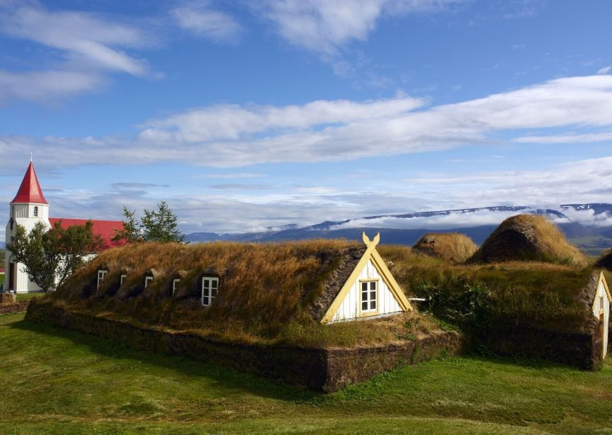 Iceland turf house traditional grass roof wooden house
