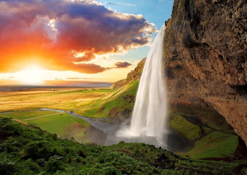 Iceland landscape waterfall national park