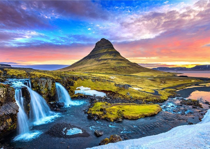 Iceland landscape volcanic mountain waterfall colorful nature