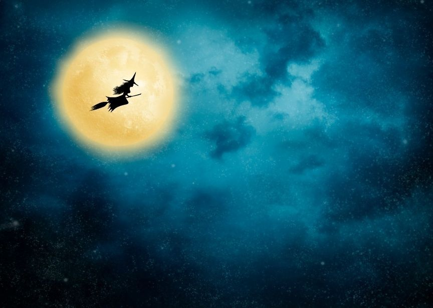 Christmas Eve in Norway Witch Flying on Broom Silhouette Moon