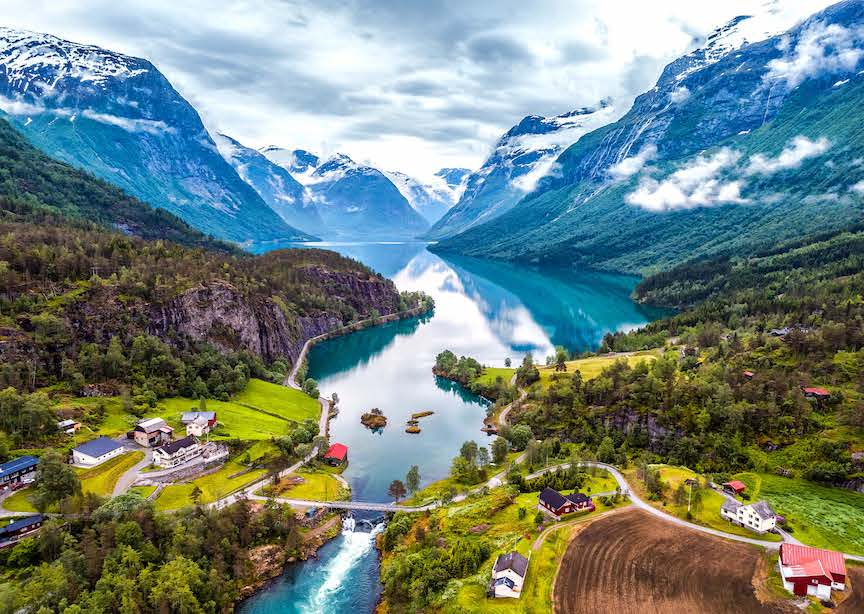 Norway fjord hills houses